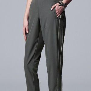Simply Vera Wang Gray Striped Crop Tuxedo Pants L